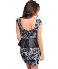 Black White Floral Print Faux Leather Peplum Dress