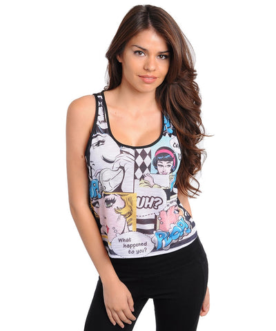 Comic Print Crop Top With Black Lace Back