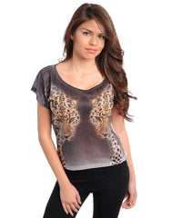 Double Trouble Black Leopard Top