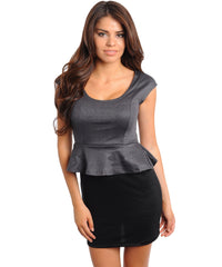 Gray Black With Silver Shimmer Peplum Mini Dress