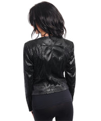 Black Faux Leather Snakeskin Blazer Jacket