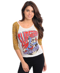 Comic Super Hero Print Mustard Sleeves Top
