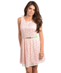 Coral White Lace Overlay Neon Belted Skater Dress