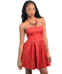 Strapless Red Embroidered A Line Mini Dress