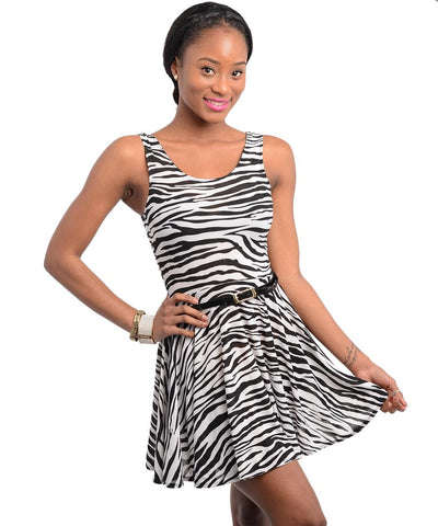 Zebra Print Belted Skater Dress