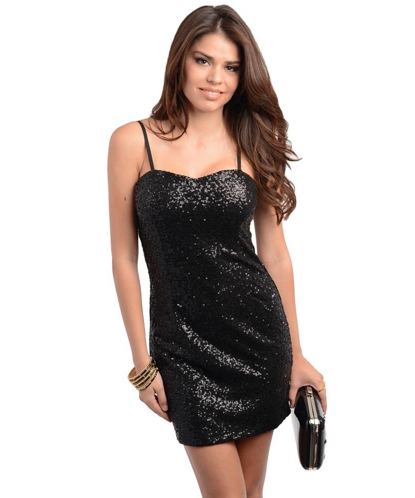 Black Sequined Decor Fitted Party Dress