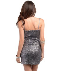 Gray Sequined Decor Fitted Party Dress