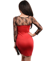 Red Black Lace Sleeves Bodycon Fitted Dress