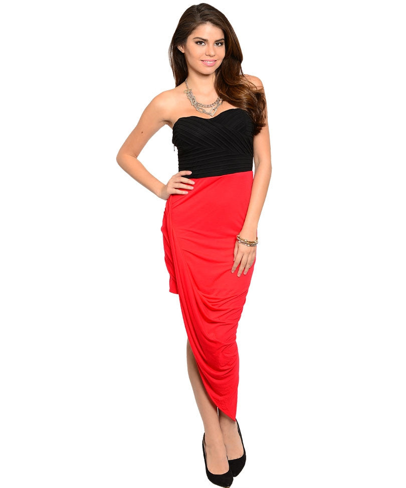 Red Black Strapless Sweetheart Asymmetrical Hem Sexy Party Dress