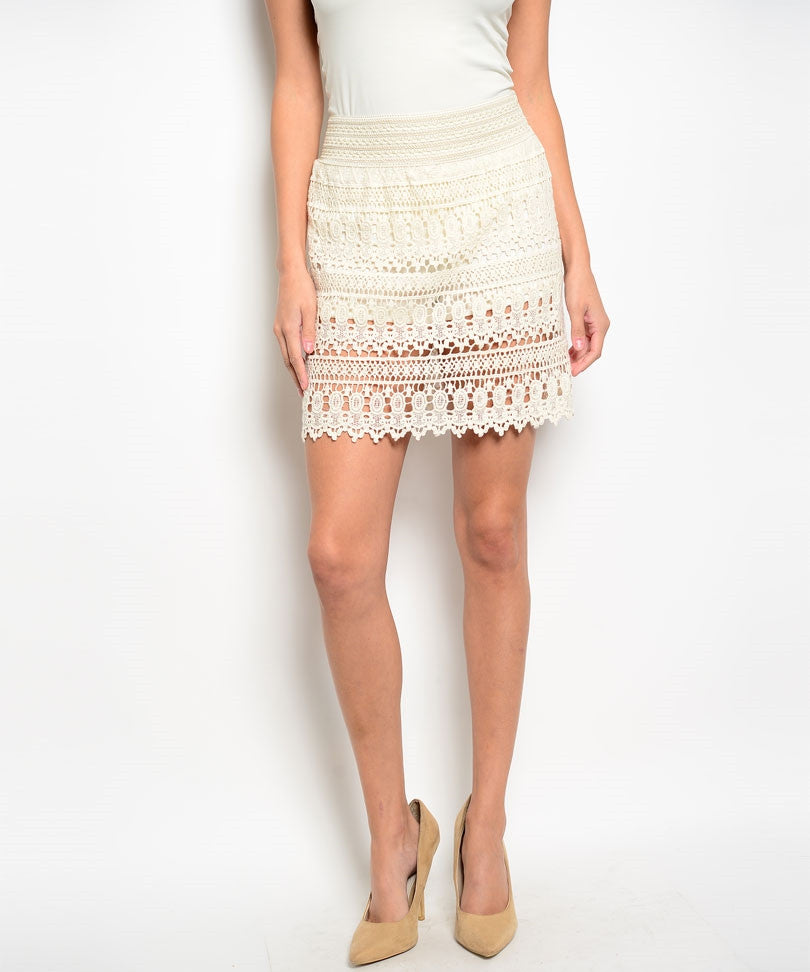 Ivory Crochet Mini Skirt