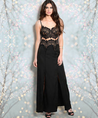 Black Scalloped Lace Front Slit Sexy Maxi Dress
