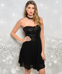 Strapless Black Sequined Chiffon Dress