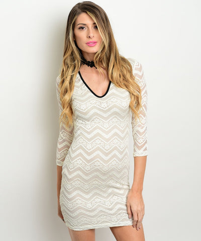Ivory Gold Lace Detailed 3/4 Sleeve Fitted Dress