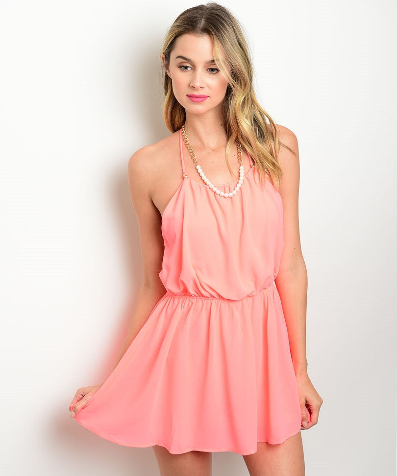 Coral Open Back Romper
