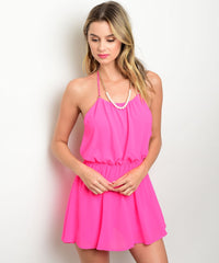 Pink Open Back Romper