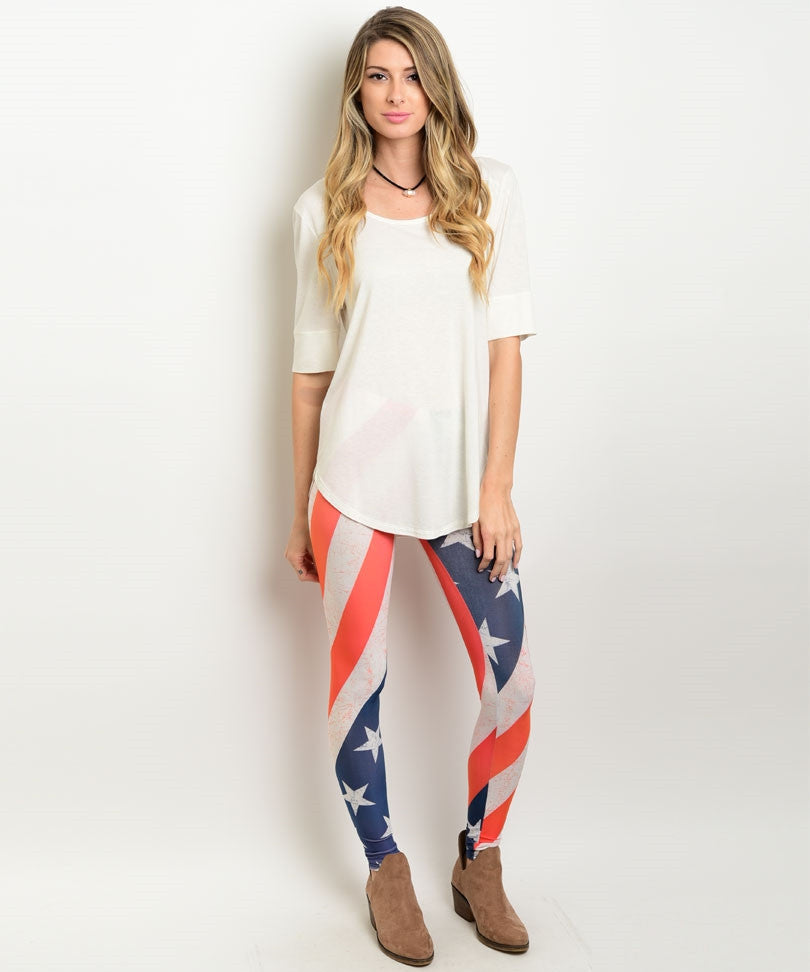 American Flag USA Red White and Blue Leggings