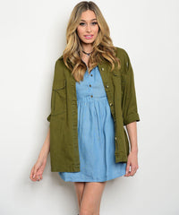 Button Up Denim Chambray Dress