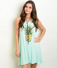 Mint Green Pineapple Print Jersey Tunic Dress