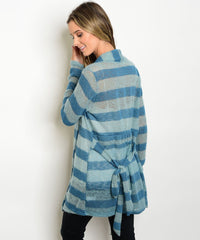 Blue Striped Open Front Cardigan