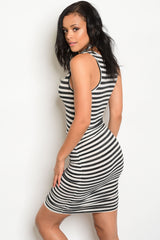 Black White Striped Tank Dress