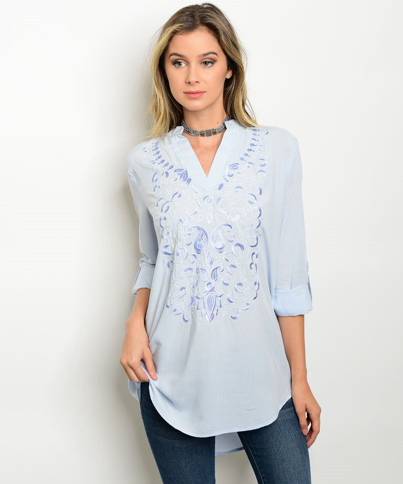 Light Blue Embroidered Longline Tunic Blouse