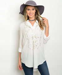 White Embroidered Longline Tunic Blouse