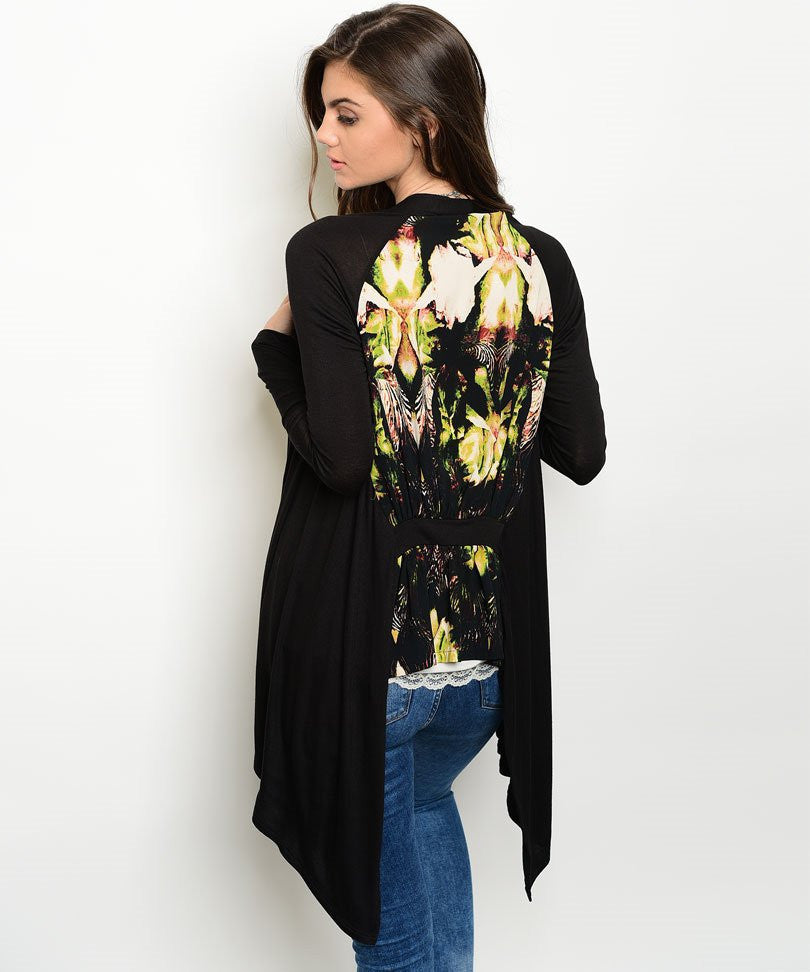Black Open Front Tropical Floral Print Cardigan