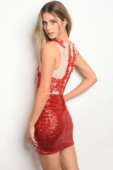Red White Floral Sequin Dress