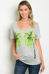 Tropical Paradise Graphic Tee Gray