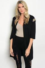 Black Studded Boyfriend Cardigan