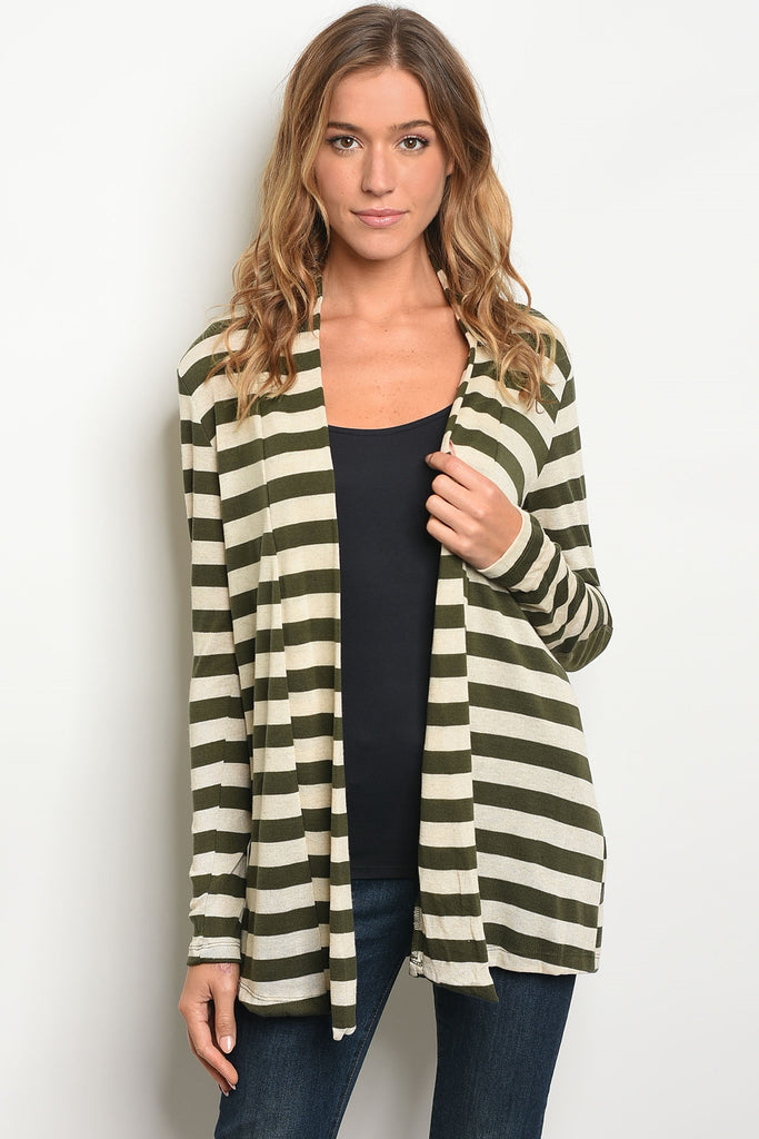 A Walk In The Park Olive Striped Cardigan