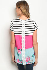 Pink Stripes and Florals Tee