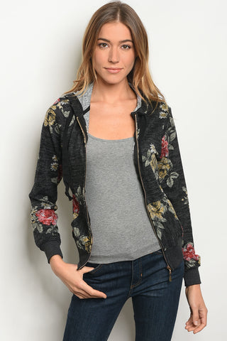 Black Floral Zip Up Hoodie