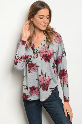 Gray Red Floral Long Sleeve Top