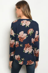 Navy Peach Floral Long Sleeve Top