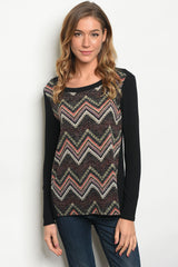 Black Chevron Long Sleeve Top