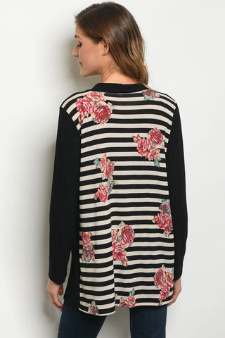 Black Stripes and Florals Cardigan