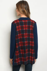 Navy Red Plaid Cardigan