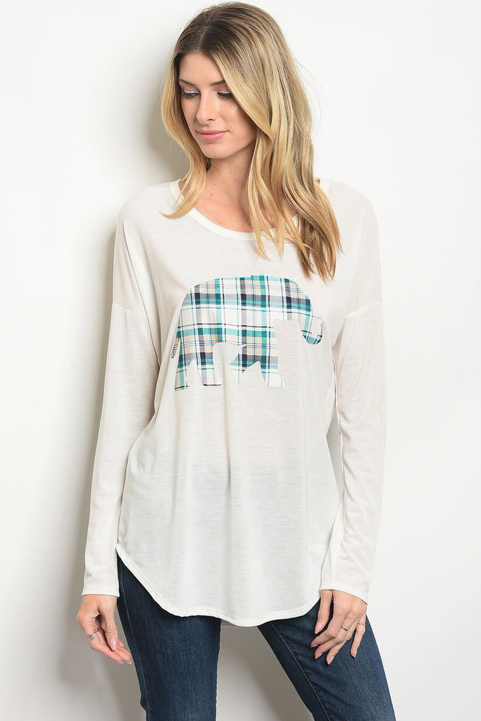 Plaid Elephant Elbow Patch Long Sleeve Top