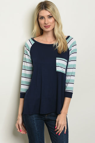 Navy Sage Striped Long Sleeve Top