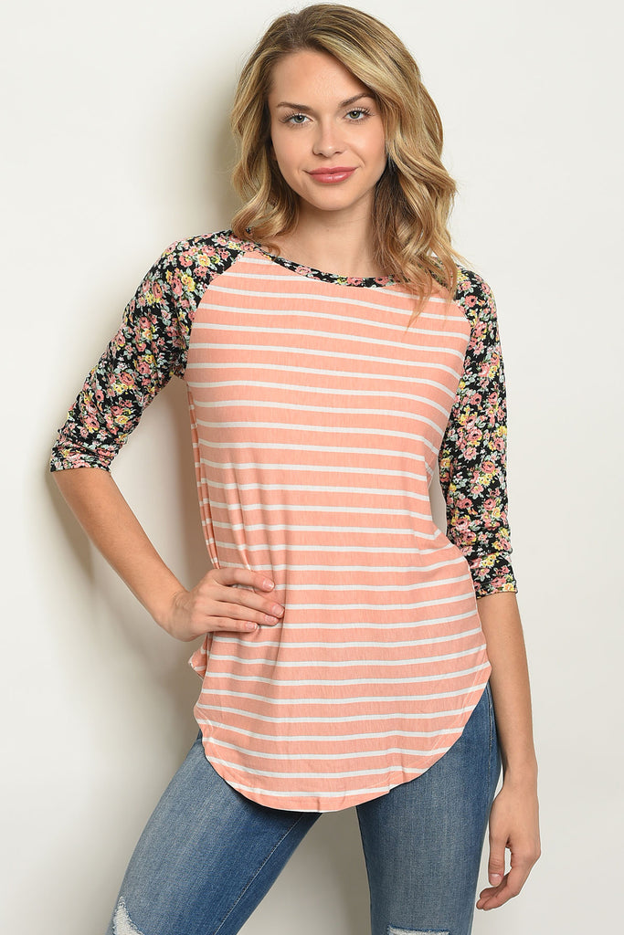 Pink Stripes And Florals Long Sleeve Top
