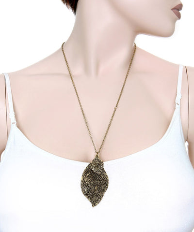 Leaf Pendant Necklace Gold Silver