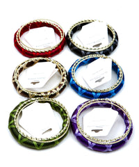Gold Colorful Wrapped Bangle Bracelet Set 3 Pcs