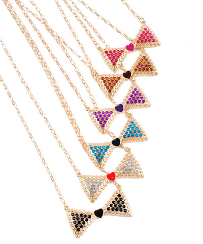 Gold Rhinestone Studded Bow Pendant Necklace Various Colors