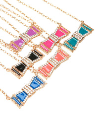 Gold Rhinestone Accents Bow Pendant Necklace Various Colors