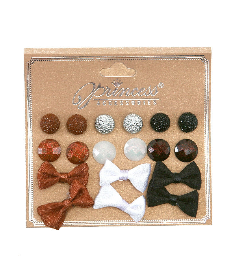 9 Pairs Fashion Earrings Studs and Bows