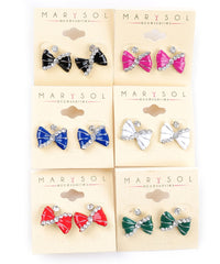 Bow Petite Rhinestone Accent Stud Earrings 2 Pairs Various Colors