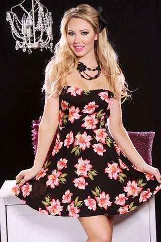 Black Floral Print Strapless Sweetheart Neckline Mini Dress