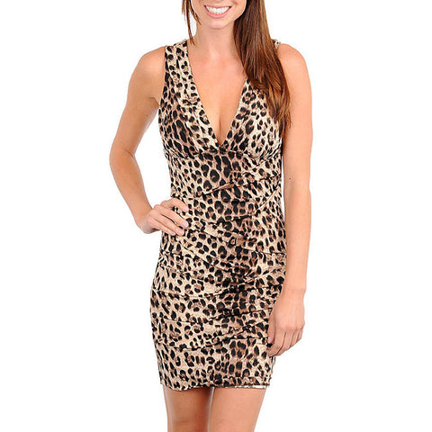 Sexy Leopard Print Satin V Neck Ruched Textured Cocktail Mini Dress