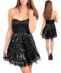 Black Strapless Lace Sequined Mesh Overlay Tulle Party Cocktail Dress